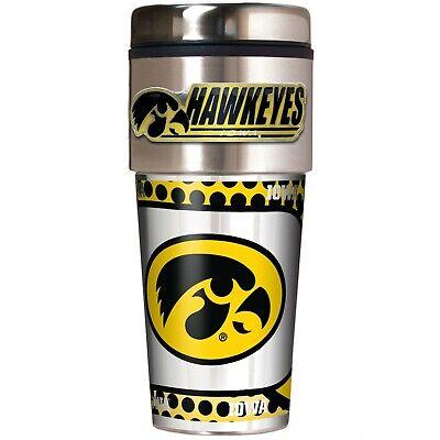 IOWA HAWKEYES 16 OZ STAINLESS STEEL COFFEE TRAVEL MUG W/ METAL - Iowa Hawkeyes Travel Mug