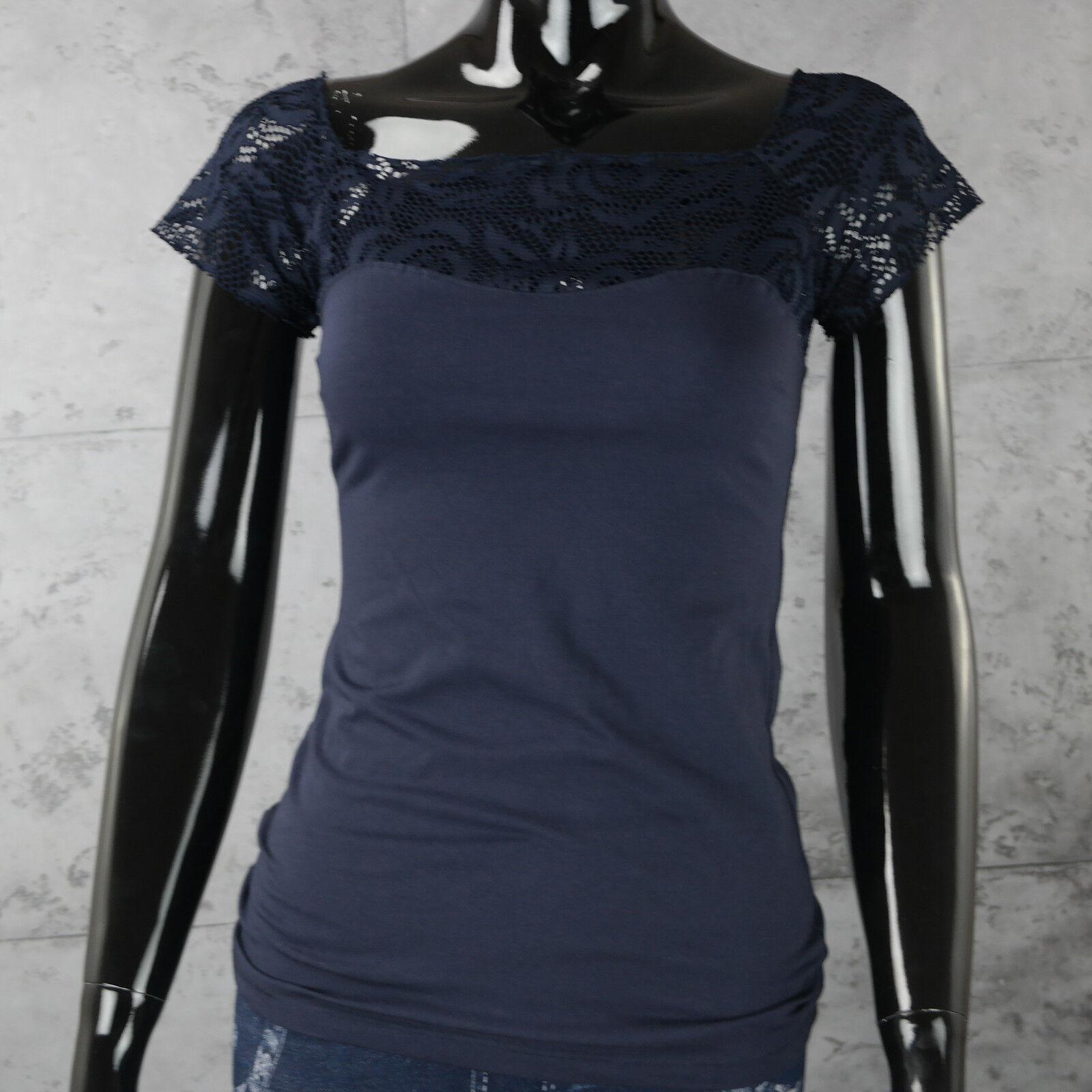 Maglietta Donna Blu scuro Camicia TOP con Pizzo ricami T Shirt Taglia Unica Sexy