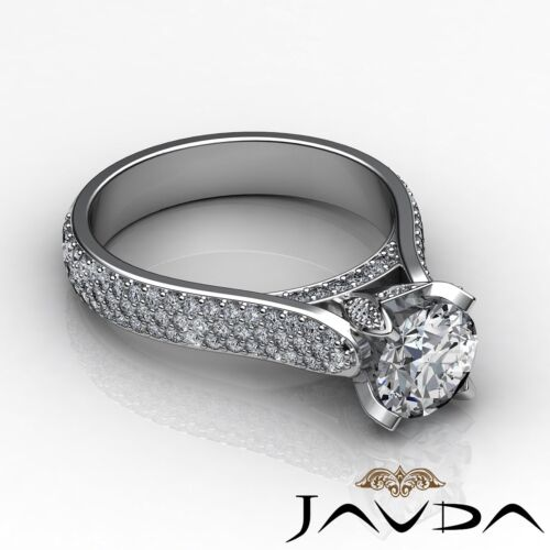 2.45ct Brilliant Cut Round Diamond Engagement Pave Set Ring GIA F VVS2 Platinum 2