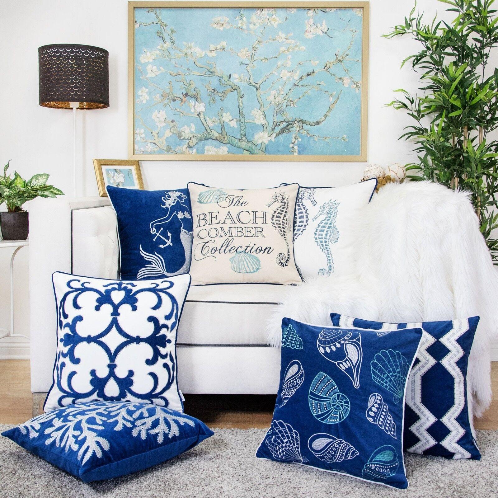 nautical throw pillow cover premium embroidery coastal