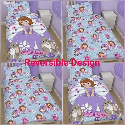 100%POLYESTER PRINCES SOFIA THE FIRST ACHIEVER REVERSIBLE SINGLE DUVET COVER SET