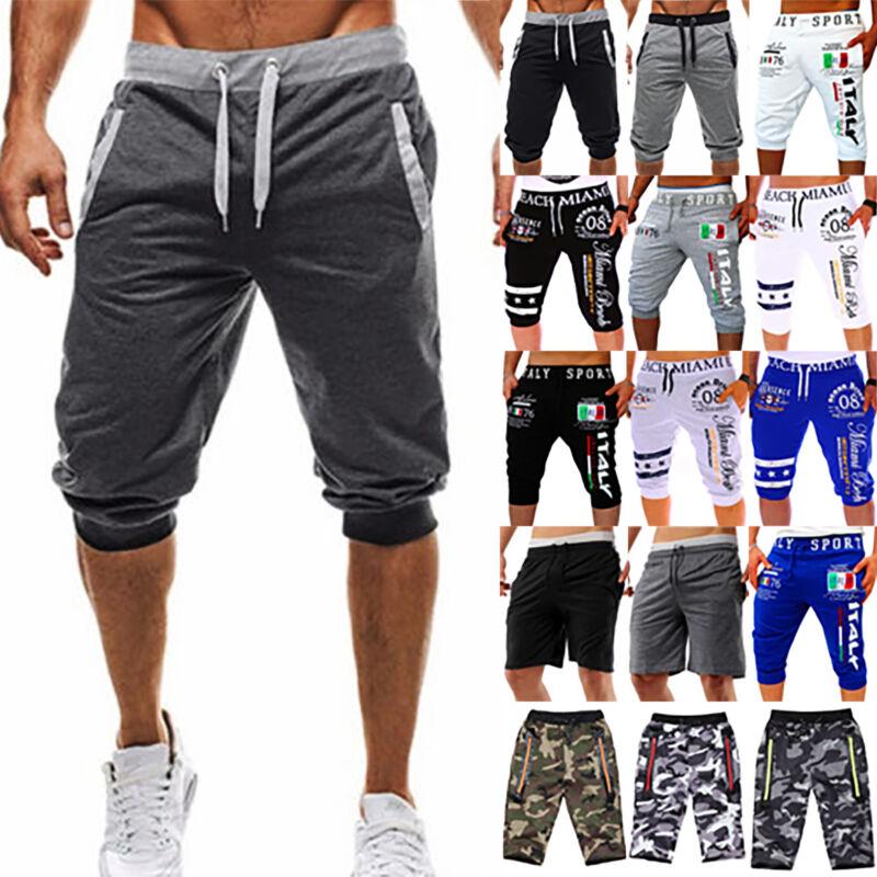 Fashion Men 3/4 Calf Length Jogger Shorts Harem Pants Sports