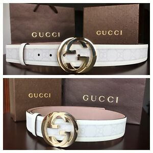 New w/ Tags Authentic White Gucci Belt 95 cm fits 30-34 waist