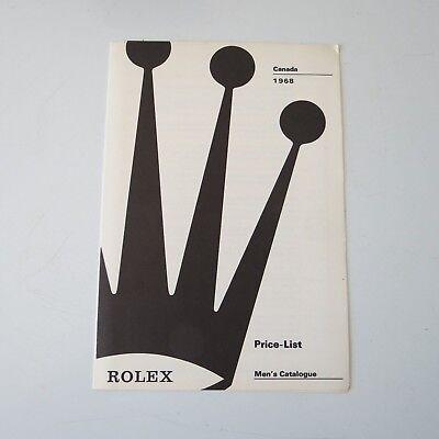 ROLEX Canada VINTAGE PRICE LIST 1970 RETAIL PRICES