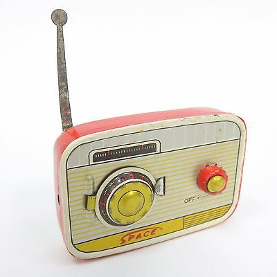Vintage Toy Radio Litho Tin Metal Space Made In Japan Miniature