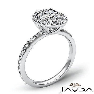 2 ct Oval Diamond Vintage Engagement Halo Classic Ring H VS2 14k White Gold GIA 1
