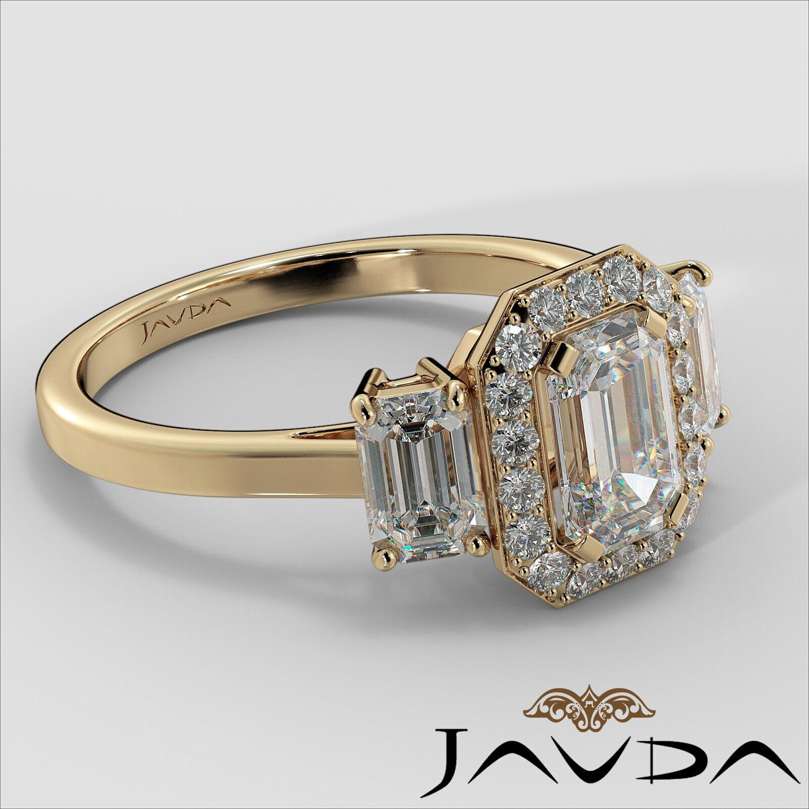 1.55ctw 3 Stone Halo Pave Emerald Diamond Engagement Ring GIA F-SI2 White Gold 10