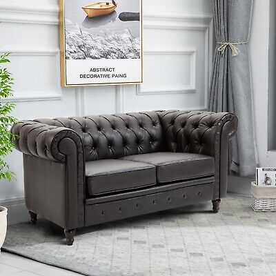 2-Seater Sofa Lover Couch Modern Design Solid Wood Legs PU Leather Living Room
