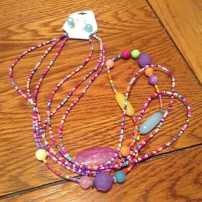 New long 3 strand necklace earring set multicolored bead - Christmas gift idea
