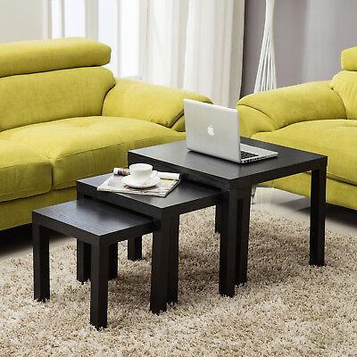 Black Nest of 3 Side Coffee Table Modern Design Living Room Furniture
