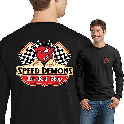 Speed Demon Rat Rod T Shirt Mens Long Sleeve Tee Vintage Hot Rod Retro Style Vintage Hot Rod