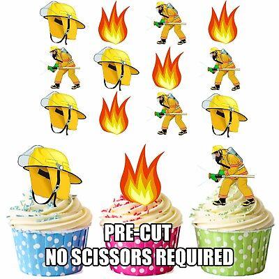 vorgeschnitten Feuerwehrmann Fire fighter Flammen 12 essbare Cupcake Topper