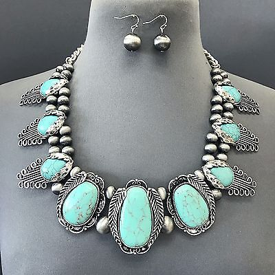 Vintage Antique Silver Oval Shape Turquoise Stone Pendant Necklace With Earrings