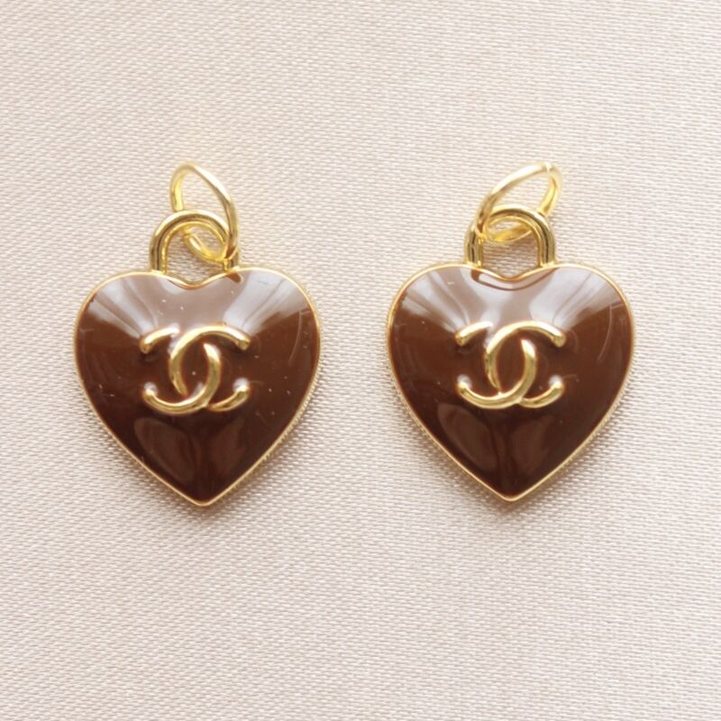 Set of 2 Chanel Zipper Pulls, 15mm, Heart, Brown, Gold, Stamped