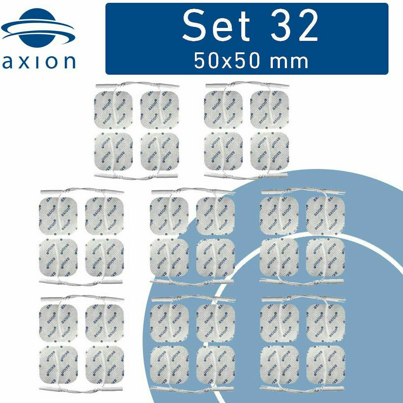 32 axion TENS Elektroden-Pads 50x50mm Sparpaket EMS Geräte mit 2mm-Stecker