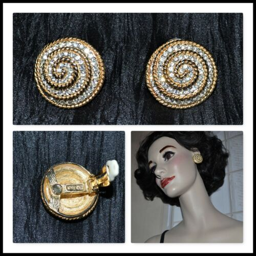CINER earrings clip on SIGNED one inch round rhinestones set in gold tone spiral