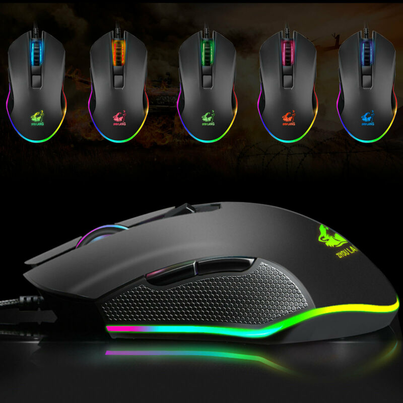 Gaming Mice Mouse 3200DPI USB RGB Flowing Backlit Light Wired PC Laptop Computer