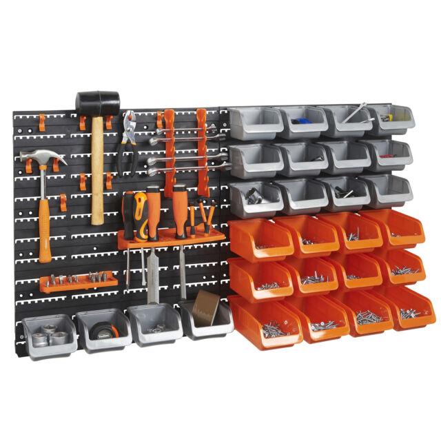 VonHaus 44pc Wall Mounted DIY Garage Organiser Storage Rack Bin Hook Panel  Set