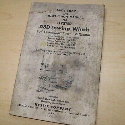 D8d Cat Caterpillar Tractor Hyster Winch Owner Parts Manual Operator Book Guide