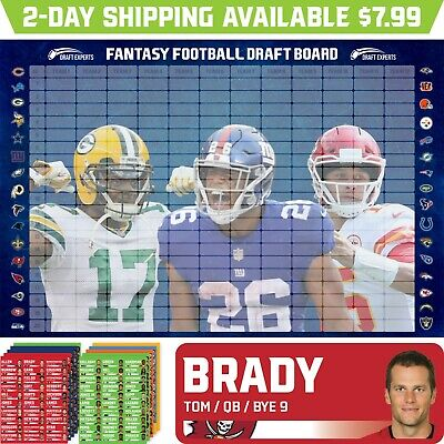 Draft Experts 2021 Fantasy Football Draft Board Kit / Draft Board & Stickers