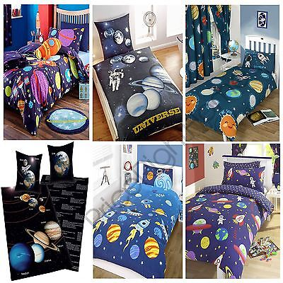 SPACE ROCKETS PLANETS SINGLE DOUBLE JUNIOR DUVET COVER KIDS BOYS BEDDING