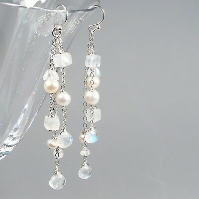 Rainbow Moonstone Gemstone White Freshwater Pearl Cascade Silver Chain Earrings - Freshwater Pearl Cascade