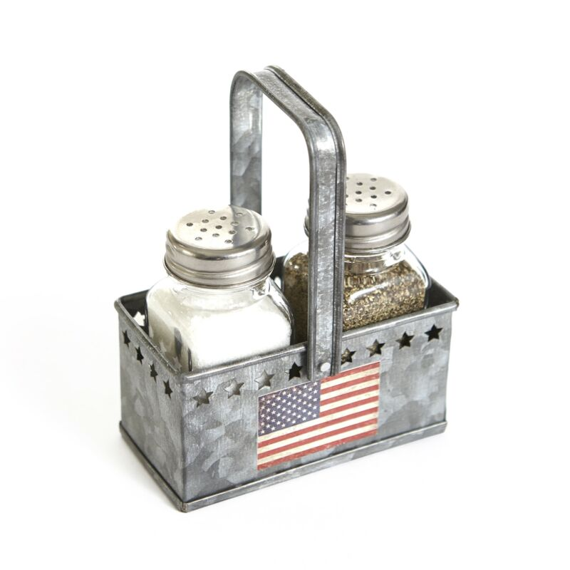 Americana Salt and Pepper Shaker Metal Caddy Tray - 3 Pieces