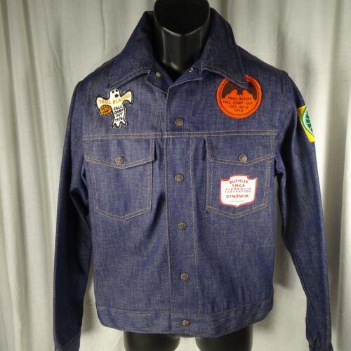 YMCA Trail Blazers Mens Denim Jean Jacket Sz 40R Large Sears Vintage Patches