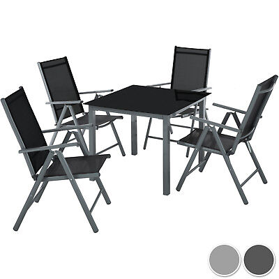 Gartenmöbel (4+1 Alu Sitzgruppe Gartenmöbel Gartengarnitur Tisch Stuhl Essgruppe Gartenset)