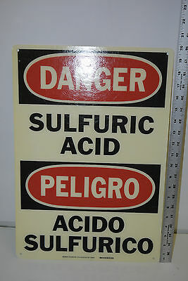 New Brady Signmark 39958 Danger Sulfuric Acid Peligro Bilingual Sign 20 X 14