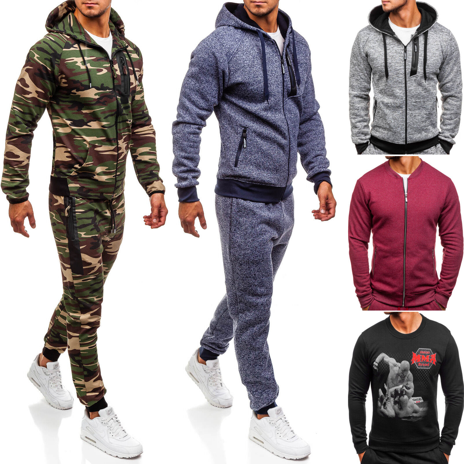 Herren Trainingsanzug Sporthose Sweatshirt Jogginganzug Sport Mix BOLF 8H8 Camo