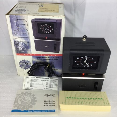 Lathem Model 2121 Heavy Duty Time Clock Recorder With Key & Cards