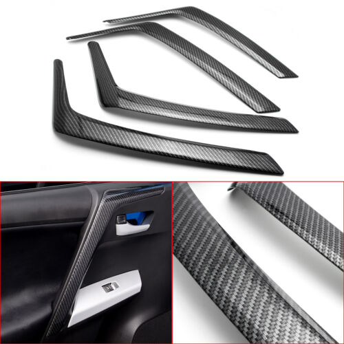 Car Parts - Carbon Fiber Style Inner Car Door Armrest Cover Trims for Toyota RAV4 2016-2018