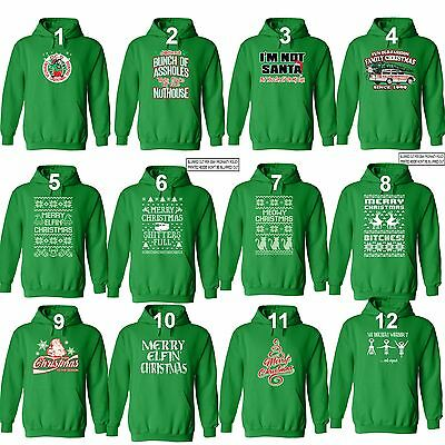 UGLY CHRISTMAS SWEATER Vacation Santa Funny unisex Men Women Hoodie Hoody GREEN (Funny Ugly Sweaters)