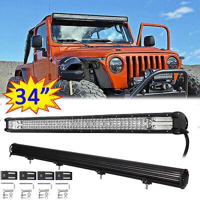 8D Tri-Row 34 Inch 220000LM LED Work Light Bar Combo Flood Spot Truck SUV OFFROA