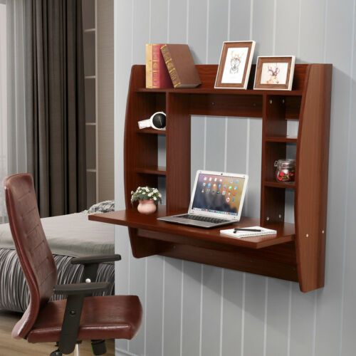 Floating Wall Mounted Office Computer Desk Home Office Table with Storage Brown