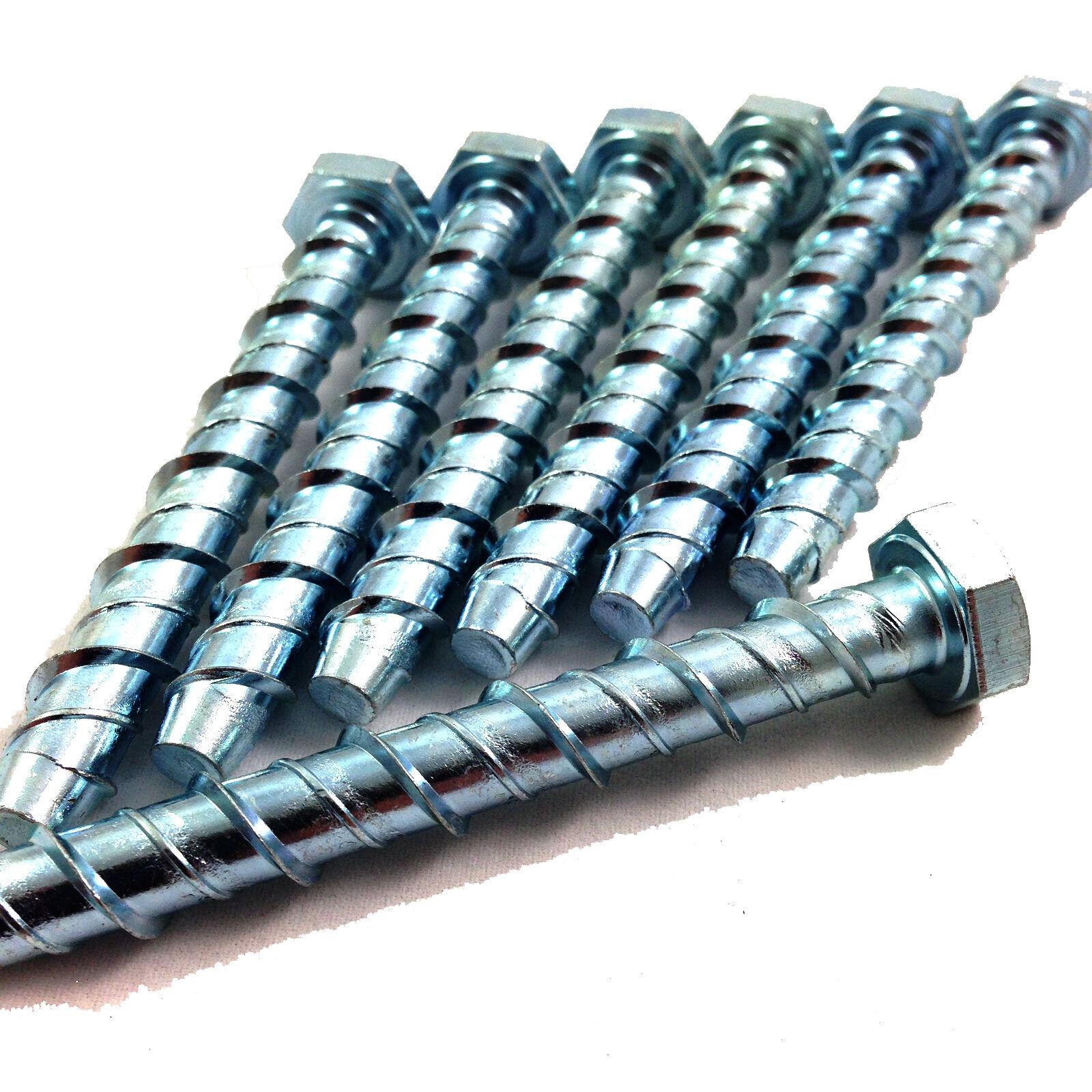 Pack of 10 M6 x 50mm Concrete//Masonry Screw Anchor Hex Head Bolt