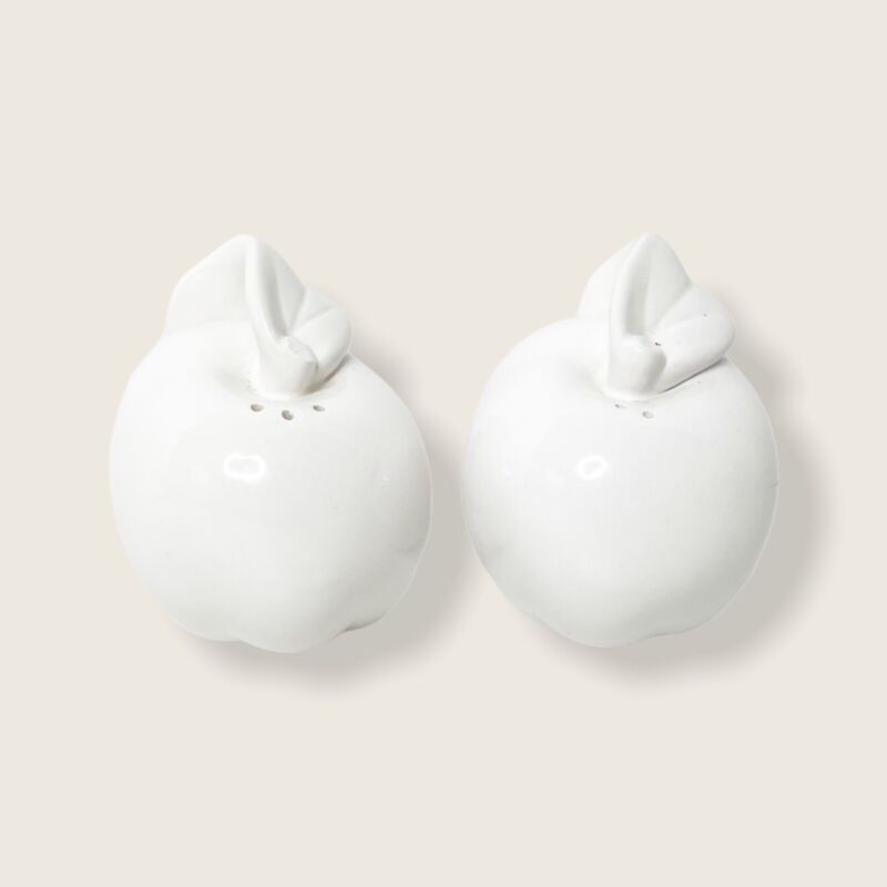Apple Salt and Pepper Shakers with Leaf Detail White Ceramic Porcelain