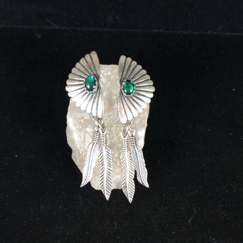 Wheeler Sterling Silver Old Pawn Earrings Green Blue Stone Dangle Feathers Long