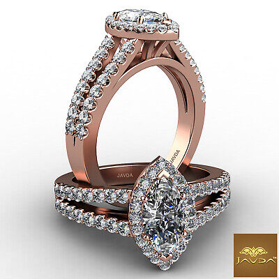Halo French U Pave Marquise Cut Diamond Engagement Ring GIA Color E VVS2 1.96Ct 7