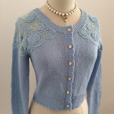 LIZ LISA Cardigan Long Sleeve Light Blue Kawaii Japan Gyaru Hime Fashion #12327