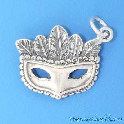 Mardi Gras Venetian Carnival Mask 925 Sterling Silver Charm Halloween Masquerade