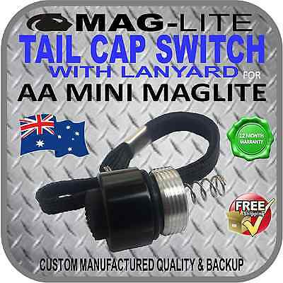 MINI MAGLITE UPGRADE AA INCANDESCENT TAIL CAP SWITCH W-LANYARD PUSH BUTTON BLACK Aa Tail Cap