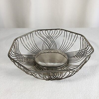 "Vintage Wire Bread Or Fruit Basket Silver Plated 10""x 10"" Interesting Pattern"
