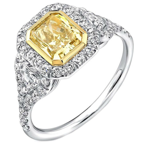 Halo Fancy Yellow Engagement Ring GIA 2.75 Carat Cushion Cut Diamond in Platinum
