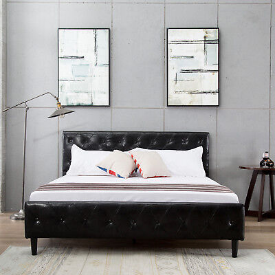 Queen Size Black PU Leather Button Tufted Upholstered Platform Metal Bed Frame