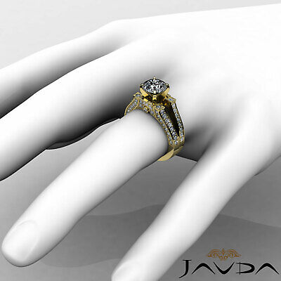 Split Shank Bezel Pave Setting Round Diamond Engagement Ring GIA F VS2 1.71 Ct 9