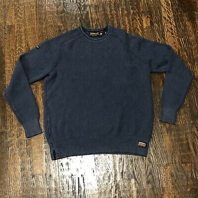 Superdry JPN Men's Blue Garment Dyed Textured Crewneck Sweater. 2XL XXL