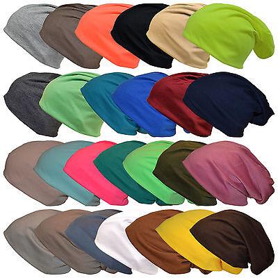 Damen Mütze (Neu Jersey Slouch Beanie Unifarben XXL Long Mütze Damen Herren Mützen Trend 2019)
