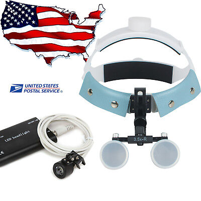 3.5x 420mm Headband Dental Surgical Binocular Loupes Optics Glass Led Head Light